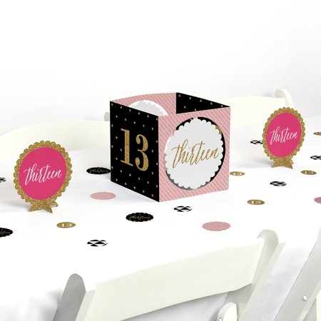 Chic 13th Birthday - Pink, Black and Gold - Birthday Party Centerpiece & Table Decoration Kit (Pink And Black Table Centerpieces)