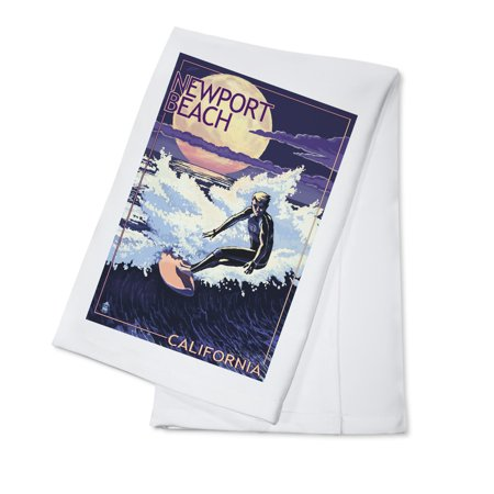 Newport Beach, California - Night Surfer - Lantern Press Poster (100% Cotton Kitchen