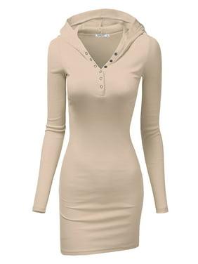 6ae444efc64031 Free shipping. Product Image Doublju Women's Henley Neck Knit Stretchable  Elasticity Long Sleeve Slim Fit Hoodie Dress BLACK 2XL Plus