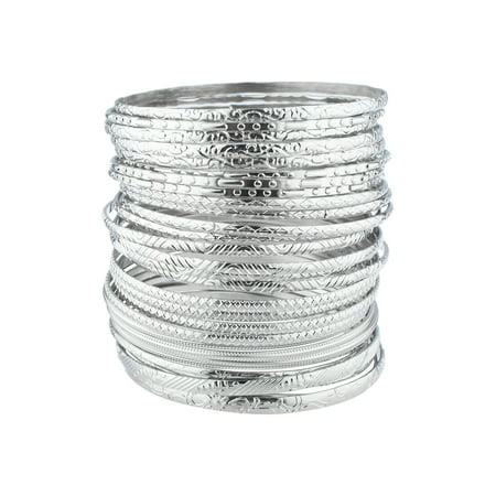 Lux Accessories Sterling Silver Tone Plated Tribal Pattern Bangle Bracelet 28pcs Citizen Silver Tone Bracelet