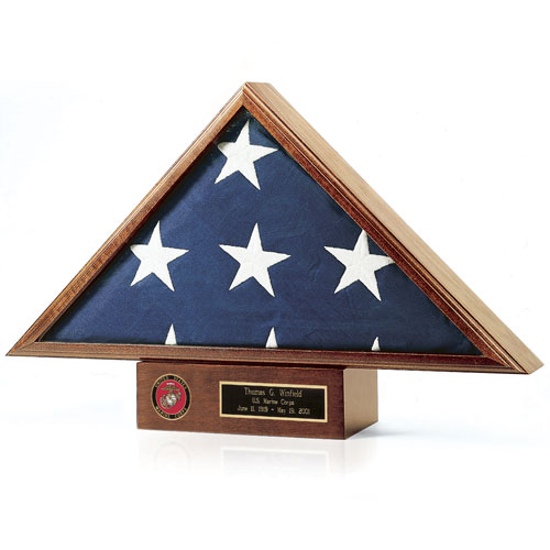 Personalized Flag Display Case and Pedestal Set