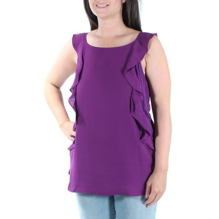 INC Womens Purple Ruffled Sleeveless Scoop Neck Tunic Top  Size: L