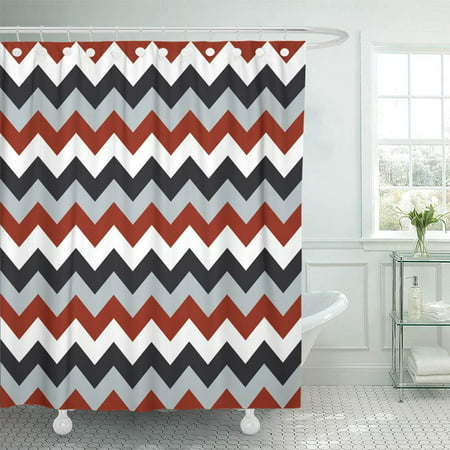 KSADK Abstract Chevron Pattern Arrows Geometric Design Colorful White Red Grey Black Line Shower Curtain 66x72 inch](Red Chevron)