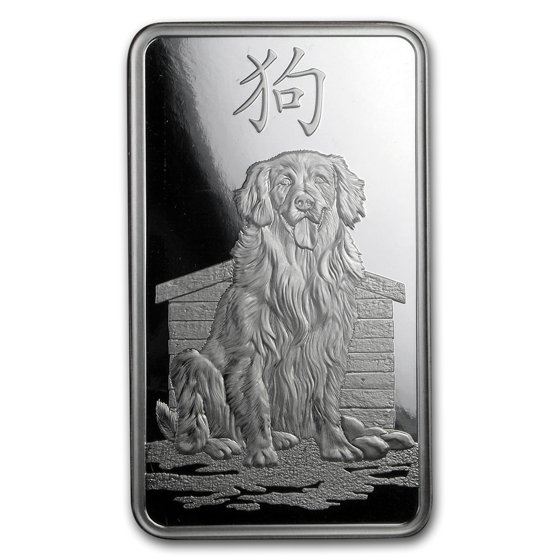 100 gram Silver Bar - PAMP Suisse (Year of the Dog)