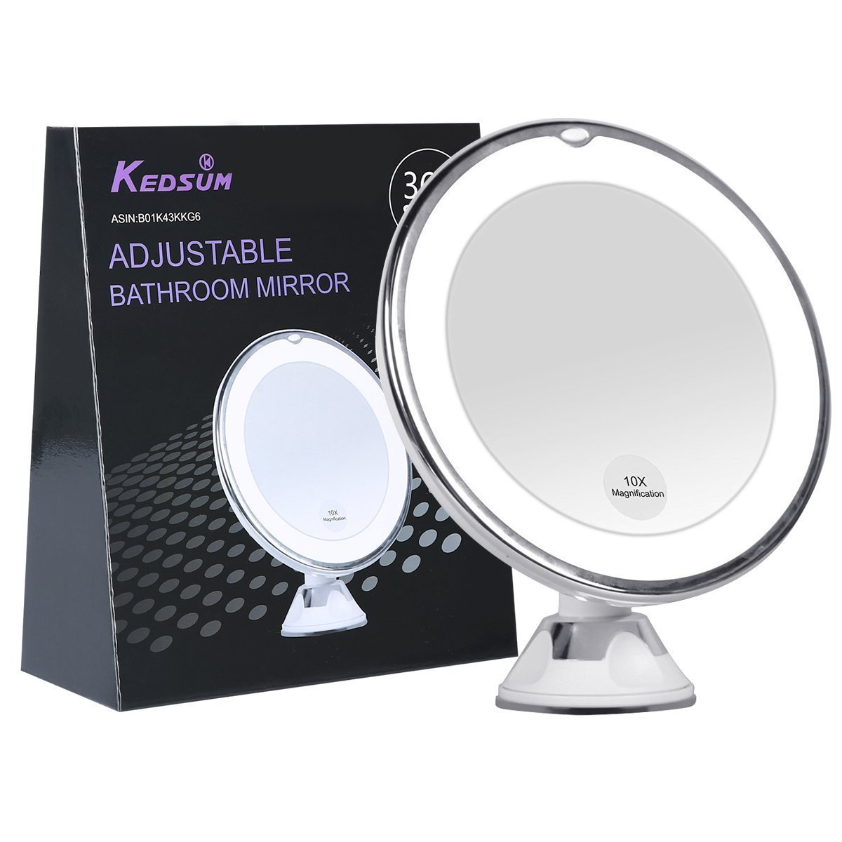 Kedsum 6 8 10x Magnifying Led Lighted Makeup Mirror Bathroom Vanity With Strong Suction Cup Rotates 360 Degrees Daylight Color Battery Operated
