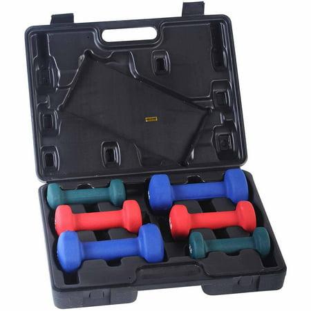 Sunny Health & Fitness 2/3/5 lbs Neoprene Dumbbell Set with Case