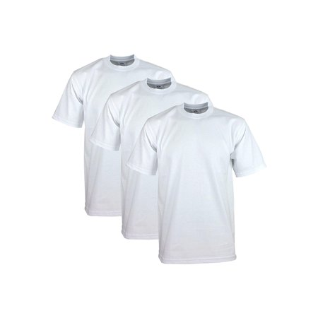 Pro Club Men's Heavyweight Cotton Short Sleeve Crew Neck T-Shirt, White, Small, (3