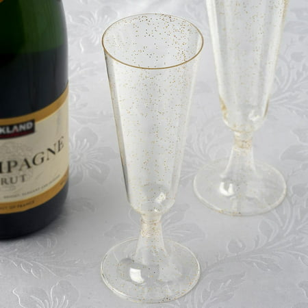 BalsaCircle Glittered Clear 12 pcs 5 oz Disposable Plastic Champagne Glasses - Wedding Reception Party Catering Tableware (Plastic Flute Glasses)