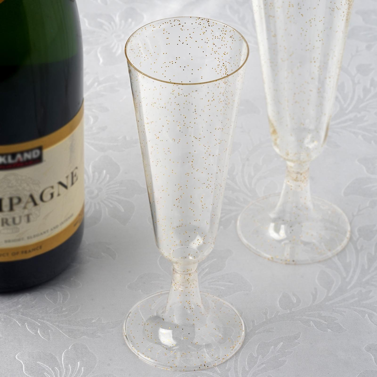 BalsaCircle Glittered Clear 12 pcs 5 oz Disposable Plastic Champagne Glasses - Wedding Reception Party Catering Tableware