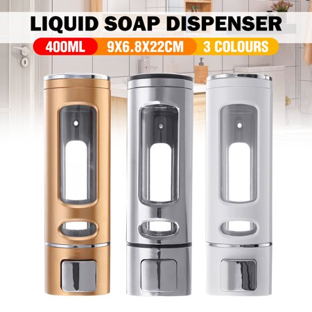 400ml Wall Mounted Soap Sanitizer Bathroom Shower Shampoo Dispenser Lotion Pump Action For Hotel And Home - image 3 de 7
