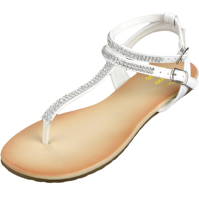 d878478c7 alpine swiss - Alpine Swiss Womens Gladiator Sandals T-Strap Slingback  Roman Rhinestone Flats - Walmart.com