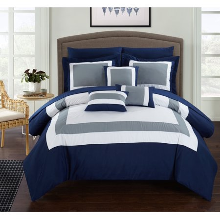 Chic Home 10-Piece Darren Patchwork Color Block Complete Queen Bed In a Bag Comforter Set Navy Sheets Included