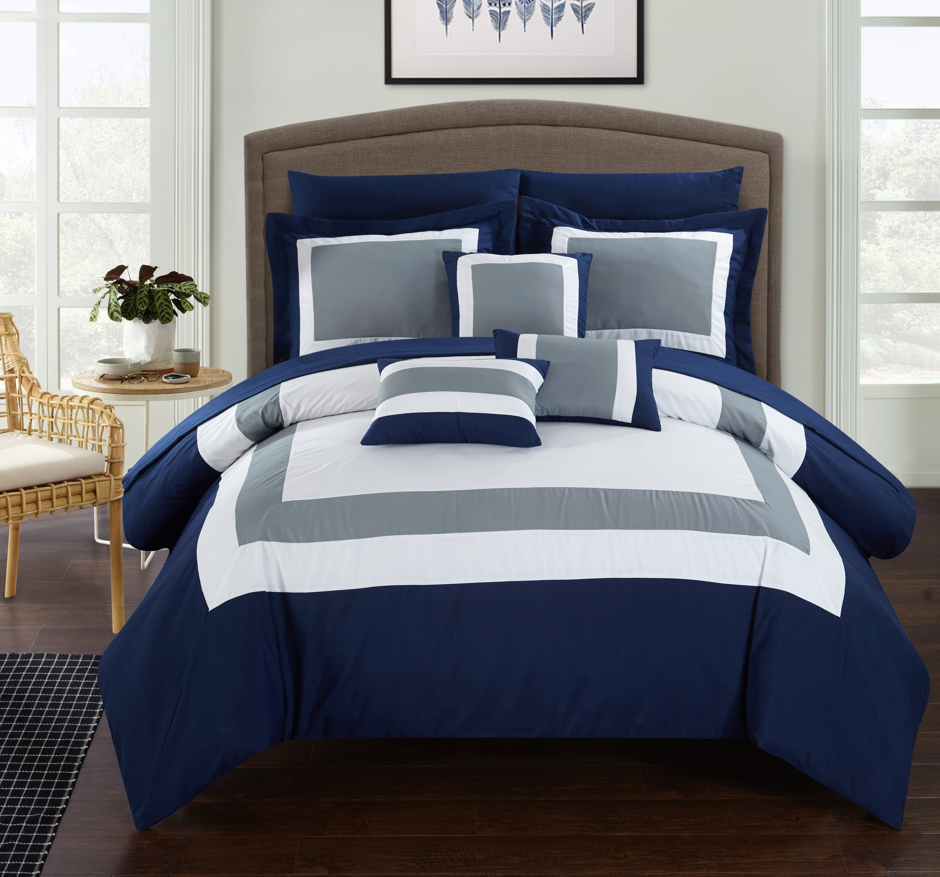 Chic Home 10-Piece Darren Patchwork Color Block Complete King Bed In a Bag Comforter Set Navy Sheets Included