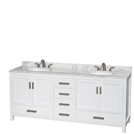 Wyndham Collection Sheffield 80 inch Double Bathroom Vanity in White, White Carrera Marble Countertop, Undermount Oval Sinks, and No Mirror Marble Bathroom Sink