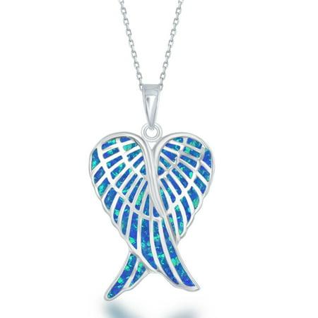 La preciosa sterling silver blue white or pink opal angel wings la preciosa sterling silver blue white or pink opal angel wings pendant aloadofball Choice Image