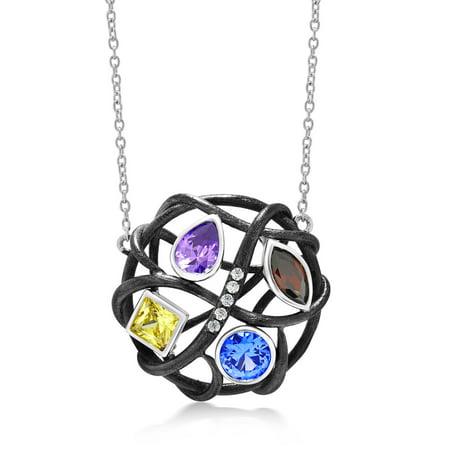 Multi Gemstone Circle Pendant - Women's 925 Silver Multi-Color CZ Openwork Twist Circle Pendant 18