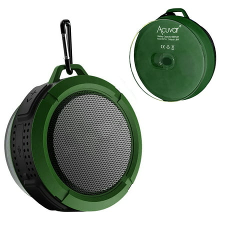 Acuvar Wireless Waterproof Rechargeable Shower Speaker with Suction Cup, Built-in Mic, Media Control Buttons (Green)