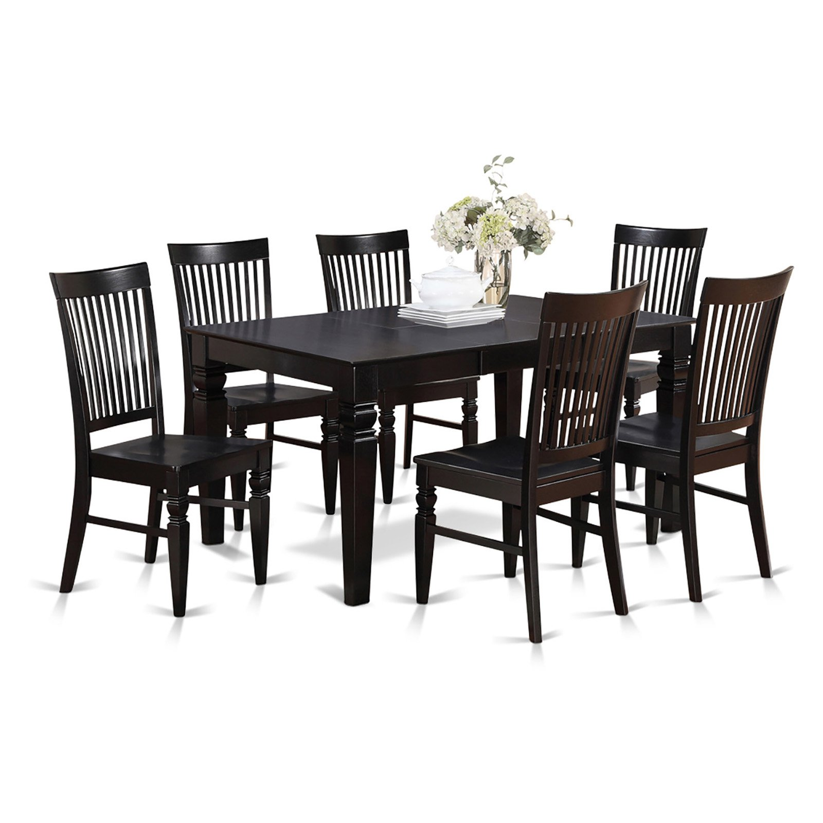 East West Furniture Weston 7 Piece Thin Slat Back Dining Table Set