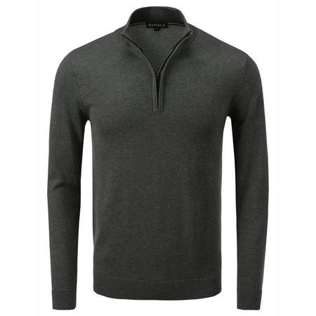 Mens Mock Neck Sweater (Daniel K Men's Vintage Half Zip-Front Mock Neck Sweater Dark Gray XXL )