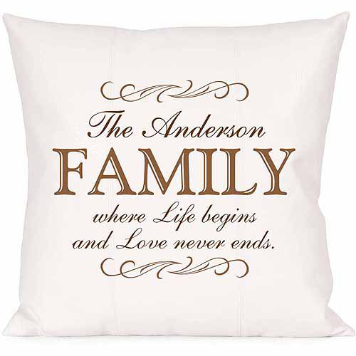 Personalized Love Never Ends Family Pillow