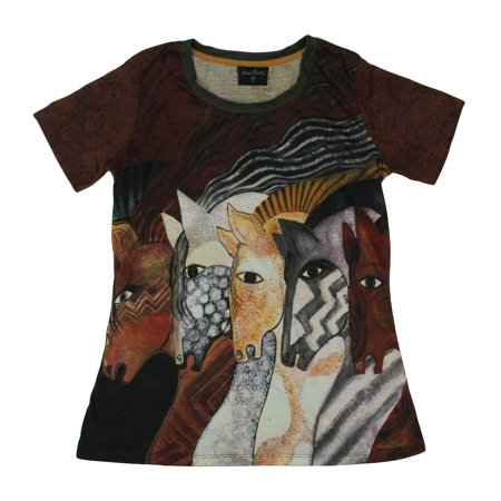 Laurel Burch Moroccan Mares Fitted Cut Short Sleeve Tee Shirt ()