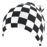 Black White Checkered Pattern Stretchy Hand Kniting Warm Beanie Hat Cap for Men