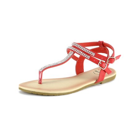 Orange Sprint Shoes (Alpine Swiss Womens Rhinestone T-Strap Sandals Ankle Strap Flat Summer Shoes )