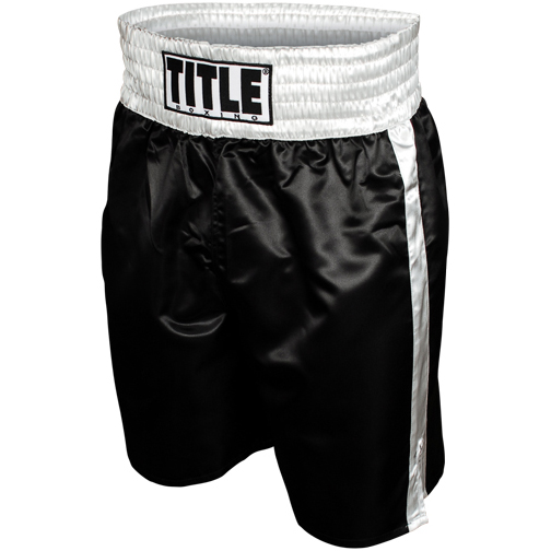 Title Professional Boxing Trunks - Black/Silver