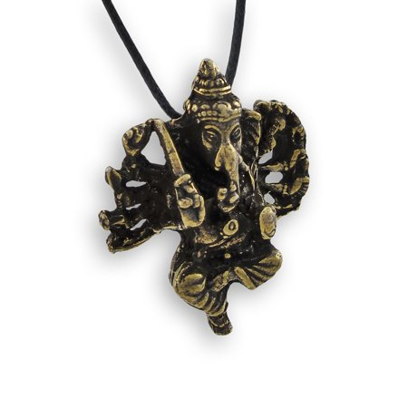 Brass Plated Lord Ganesh 3-D Pendant w/ Cord Necklace
