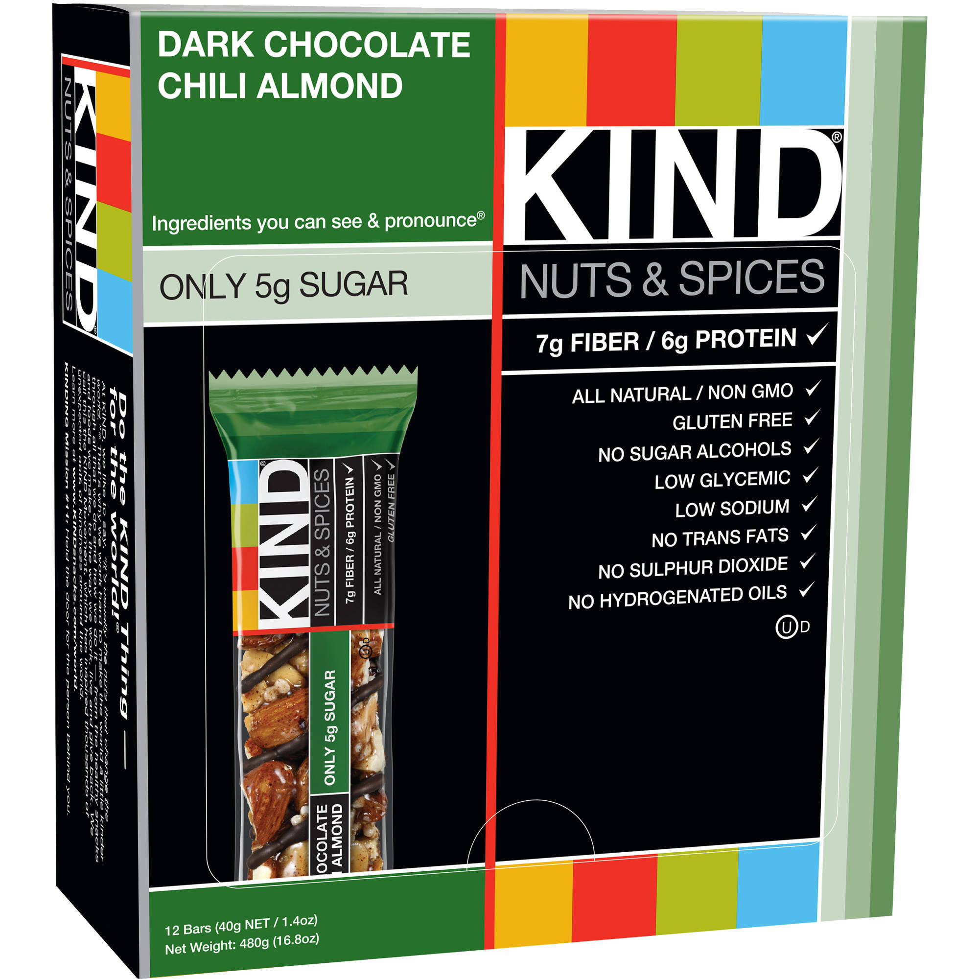 KIND Nuts & Spices Bars, Dark Chocolate Chili Almond, 1.4 oz, 12 Count