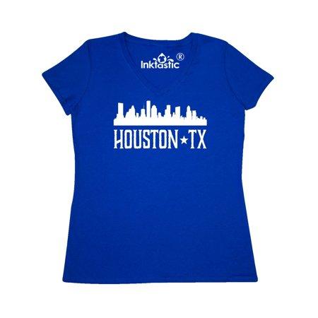 Houston Texas Skyline TX Cities Women's V-Neck T-Shirt - Halloween Houston Tx