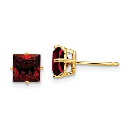 6mm Princess Cut Mount - 14K Yellow Gold 6mm Princess Cut Garnet Stud Earrings