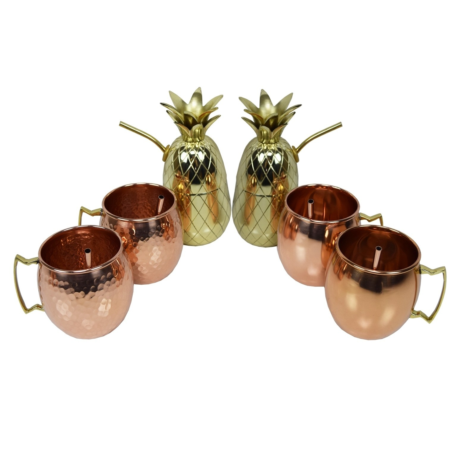 Oakland Living Six Piece Party Set of Moscow Mule Mugs, Pineapple Cups and Straws