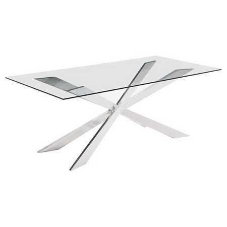 822f4bd07de1 Star-Modern Tempered Glass Dining Table with Chrome Base- 60