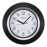 La Crosse Technology 404-1225 10 Inch Atomic Black and Silver Analog Clock