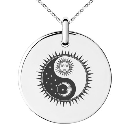 Yin Jade Pendant - Stainless Steel Sun & Moon Yin Yang Engraved Small Medallion Circle Charm Pendant Necklace