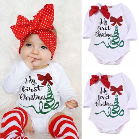 Newborn Christmas Outfit Girl.Newborn Infant Baby Girl Rompers Bodysuit Jumpsuit Christmas Outfits Costume