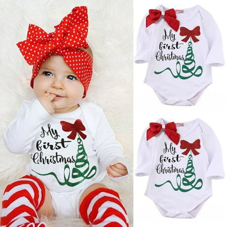 Newborn Infant Baby Girl Rompers Bodysuit Jumpsuit Christmas Outfits Costume