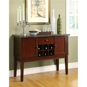 Benzara BM179910 36 x 18 x 48 in. Solid Wooden Marble Top Server with Storage & Wine Rack, Cherry Brown