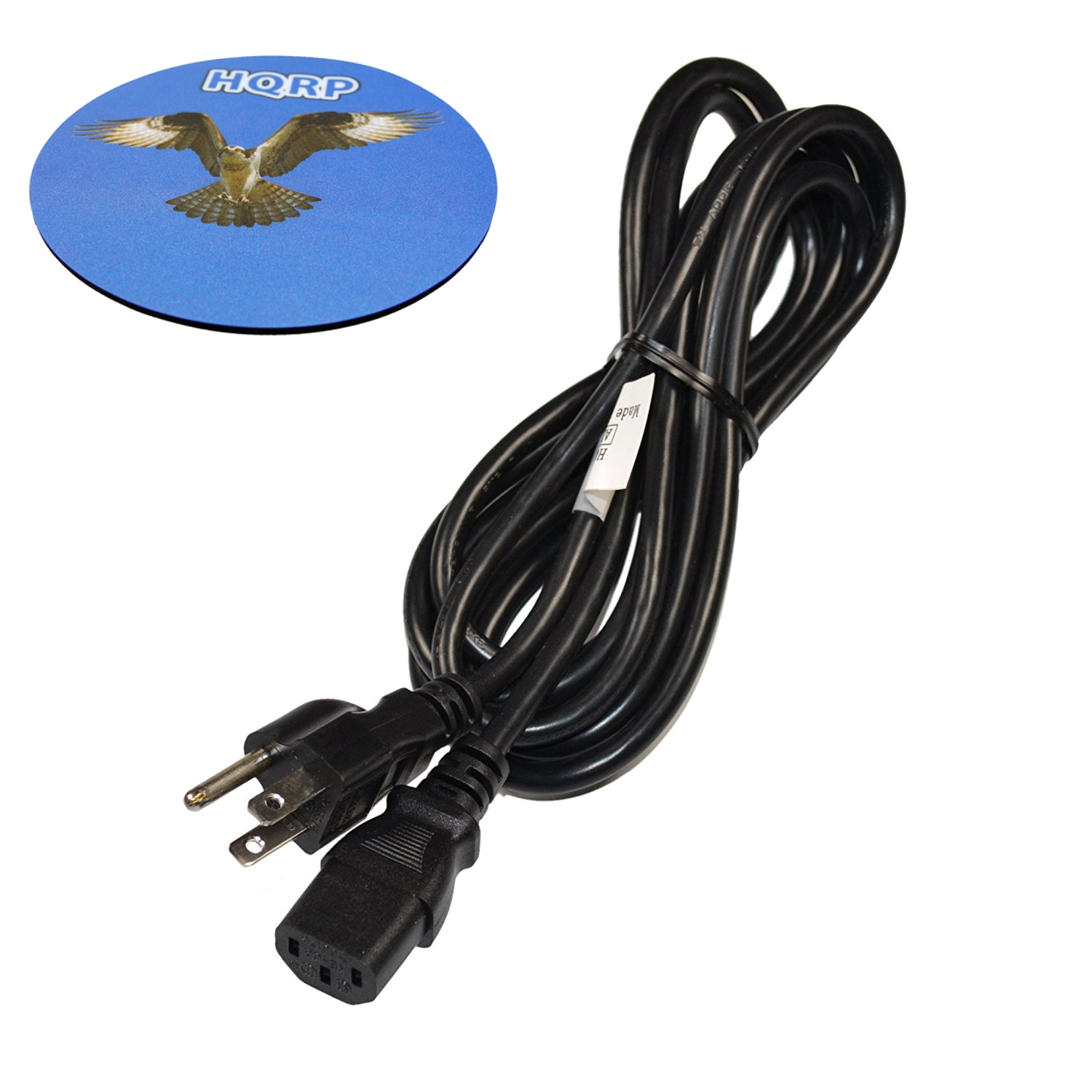 HQRP 10ft AC Power Cord for Ion Blockrocker Tailgate Bluetooth Speaker Mains Cable iPA77 + HQRP Coaster