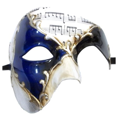 Men's Phantom Music Blue Silver Large Mardi Gras Masquerade Elegance Mask - Man Masquerade Masks
