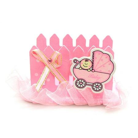 Wooden Fence Baby Favor Napkin Holder, 2-inch, Pink ()