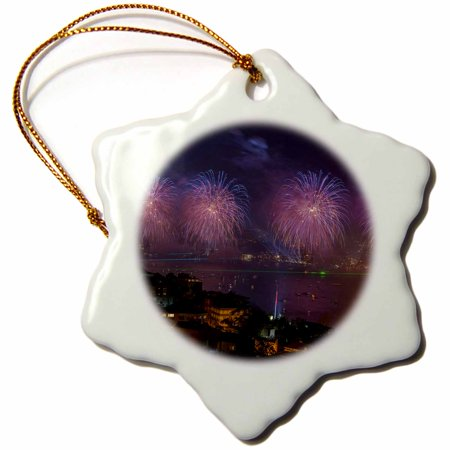 3dRose Fireworks display over the Bosphorus, Istanbul, Turkey - Snowflake Ornament, 3-inch - Firework Displays Halloween 2017