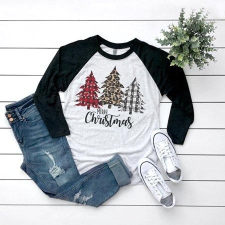 Merry Christmas Print Shirt Women Long Sleeve Tops ()