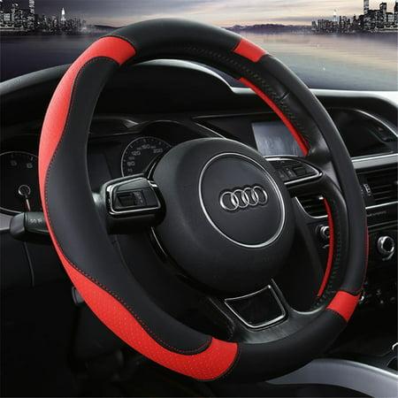 Microfiber Leather  Car Steering Wheel Cover, Universal 15 inch Steering Wheel Cover for Car Truck and SUV (15 1 2 Inch Steering Wheel Covers)