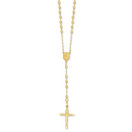14k Yellow Gold Polished Lobster Claw Closure Sparkle-Cut 3mm Beaded Rosary Necklace - 24 Inch (Yellow Bead Necklace)