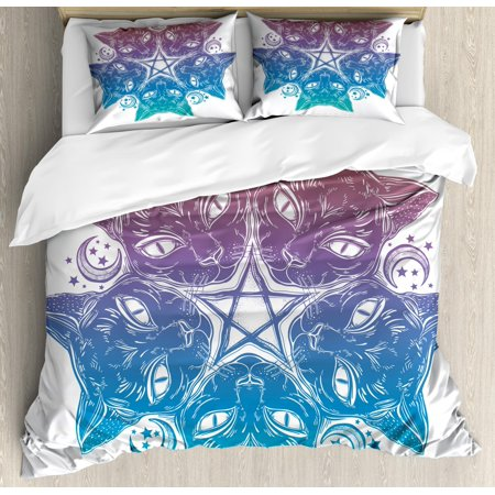 Pentacle King Size Duvet Cover Set, Heads of Black Cats Forming a Mandala Design with Crescent Moon Pentagram Star, Decorative 3 Piece Bedding Set with 2 Pillow Shams, Multicolor, by Ambesonne ()