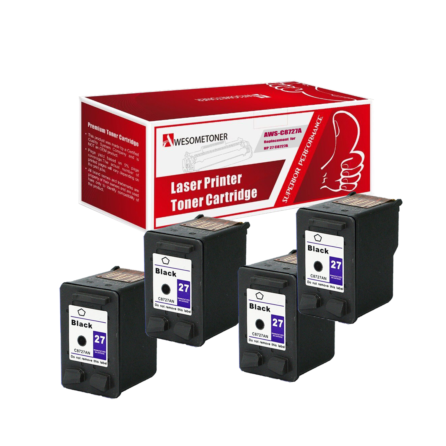 Awesometoner© Compatible 4 Pack C8727A (HP 27) Ink Unit F...