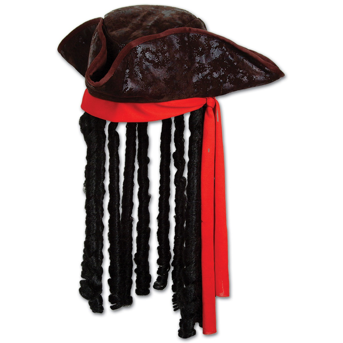 Pack of 6 Ship Ahoy Caribbean Pirate Hat With Bandanna and Dreadlocks