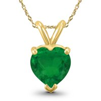 14k Yellow Gold 5mm Heart Emerald Pendant